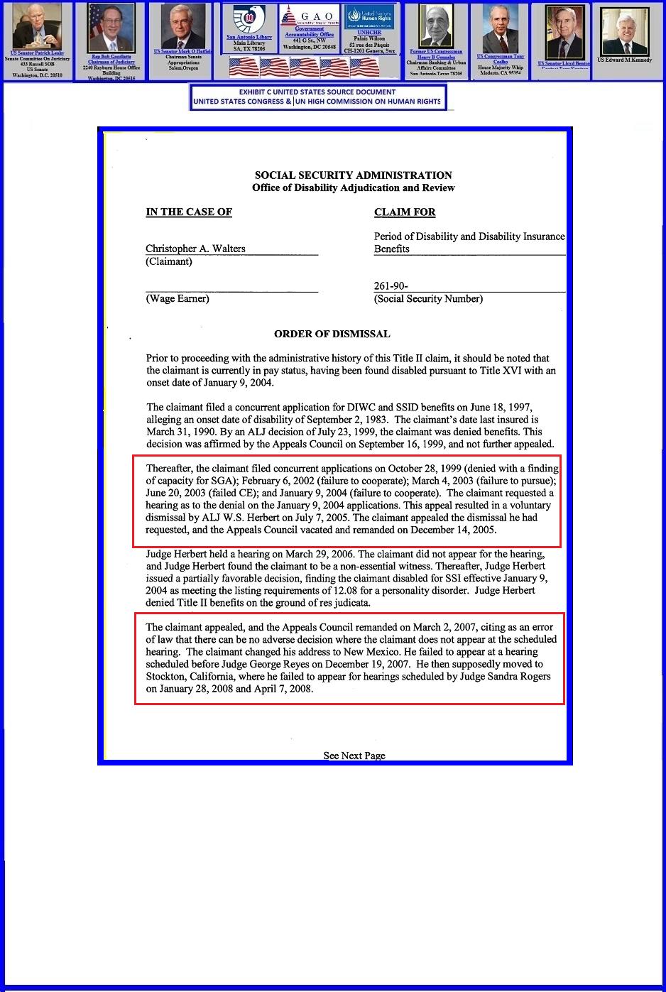 Exhibit Page #31 (November-December, 2008: SSA Dawson Administrative ...